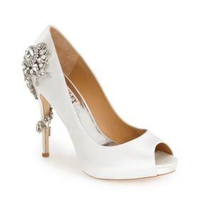 Badgley Mischka White Satin Royal Decorated Heel